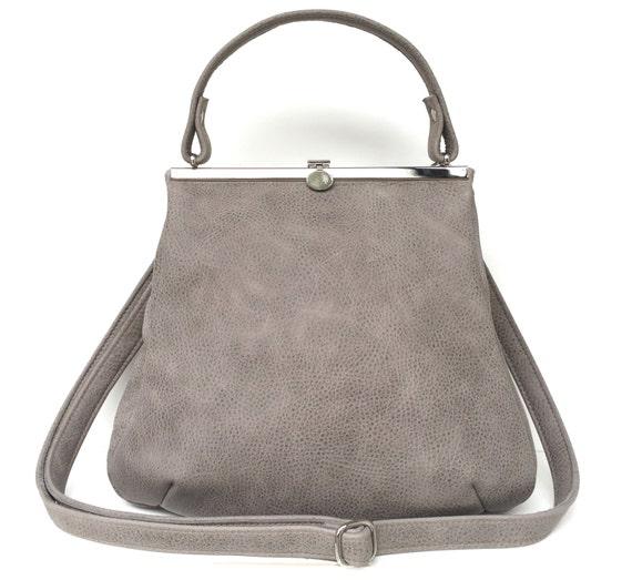 "leather bag,handbag grey leather, ""STONE"","