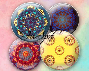 Geometric patterns flowers - Digital Collage Sheet 20mm, 18mm, 16mm, 14mm, 12mm circle.Glass Pendant.Bottlecaps Scrapbooking