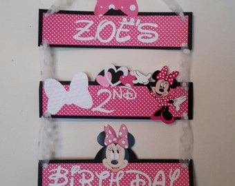 Minnie Mouse Birthday Sign,minnie mouse name banner, Minnie Door Sign, Minnie Mouse Door Sign, Minnie Mouse Birthday Party, Hot Pink