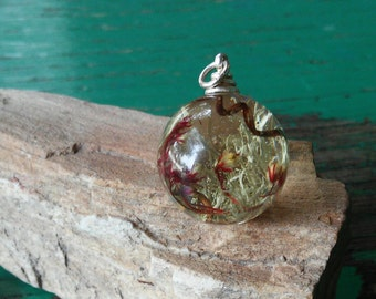 Sterling Silver and Resin Woodland Pendant
