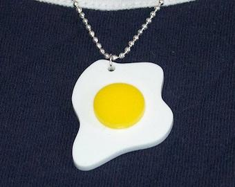 Fried Egg Pendant, On Ball-Chain Necklace, Kawaii, Unusual Acrylic Jewellery