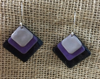 Enameled earrings Black Purple and Gray