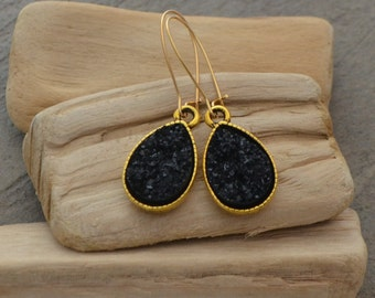 Druzy Teardrop Earrings - Gold Druzy Bezel Earrings - Grey Druzy Earrings - Bridesmaids Earrings - Black Druzy Earrings - Druzy Earrings