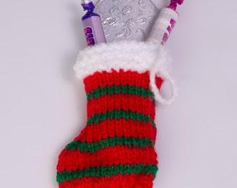 Christmas stocking decoration - knitted decoration - mini stocking