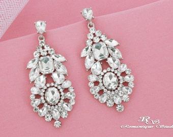 Crystal bridal earrings Art Deco wedding earrings vintage style rhinestone earrings chandelier earrings statement earrings 1358