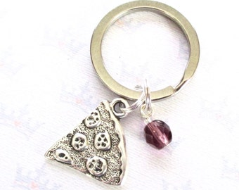 Pizza keychain - Pizza slice keyring with birthstone - Friendship gift - Pizza slice keychain - Squad gift - Bestie keychain - Team gift