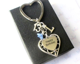 Personalised 13th Birthday keyring - Personalized 13th keychain - Happy Birthday gift - Sister - Friend - UK