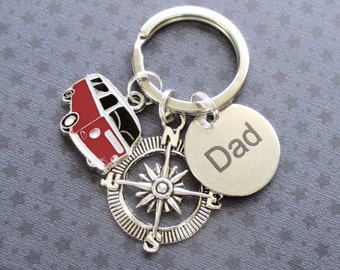 Dad gift - Retro camper van keyring for Dad - Father's Day gift for Dad - Dad birthday - Road trip - Travelling gift - Dad keyring - UK