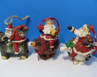 Rare Christmas Santa Clause Riding Bears Ornaments  Collectible Collector Resin PVC Holiday