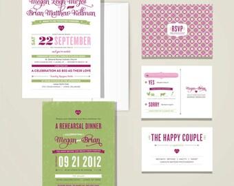 Custom Wedding Invitation Set, Pink and Green