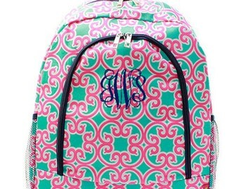 Personalized Pink Backpack Monogrammed Bookbag Quatrefoil Moroccan Mint Green Navy Large Full Size Tote School Bag Embroidered Monogram Name
