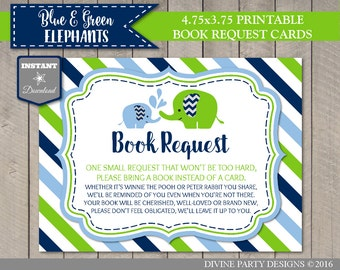 INSTANT DOWNLOAD Blue and Green Elephant Baby Shower Printable 4.75x3.5 Book Request Cards / Item #2611