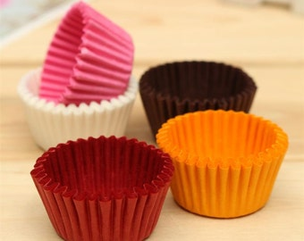 50 x Orange Mini Cupcake Wrappers * Ideal For Easter, Halloween & Christmas Decoration Paper.  Cake Liner Cases