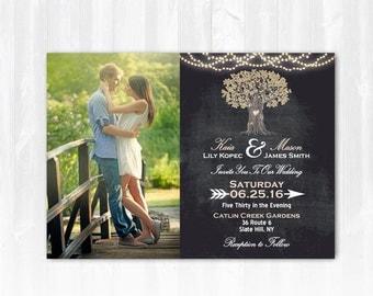 Tree Wedding Invitation DIY PRINTABLE Digital File or Print (extra) Rustic Tree Wedding Invitation Photo String Lights Wedding Invitation