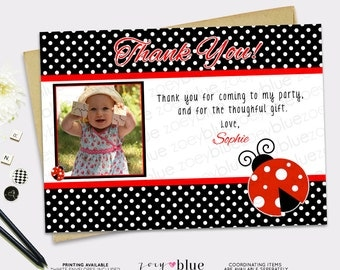 Ladybug Thank You Card - Lady bug birthday thank you card- red and black ladybug birthday- girl first birthday thank you - printable file