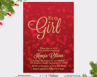 Red Gold Baby Shower Invitation   Bokeh Itu0027s A Girl Invite Christmas  Printable Invite Gold Glitter