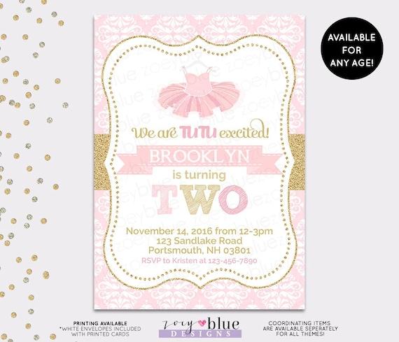 Tutu birthday invitation ballerina ballet 1st first birthday pink il570xn filmwisefo