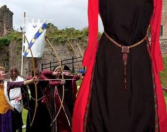 FREE SHIP 2X Renaissance Medieval Costume SCA Garb Black Tabard Red Kirtle Ctn 2pc