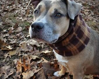 LARGE DOG SNOOD / cowl / scarf/ brown plaid