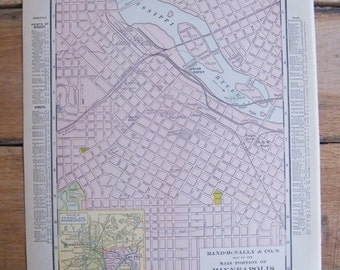 Authentic Antique Vintage 1913 Map of City of Minneapolis Minnesota Rand McNally Unrivaled Atlas of the world page 103 year old map