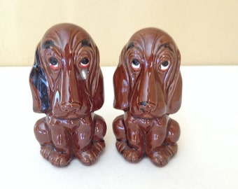 Adorable Vintage Cute  Pair of Blood Hound Dog Salt and Pepper Shakers- Enesco Japan
