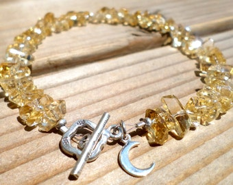 Citrine Bracelet and Hill Tribe Silver, Sterling Silver Crescent Moon Charm, Citrine Chip, November Birthstone, Moon Jewelry