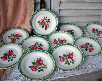 Set of 6 French vintage mid century stencil ware plates. Red and green. Red roses. French stencilware. Digoin. French vintage kitchen