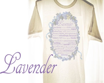 Lavender Iron-on Transfer Printable Art Decal Digital Typography Sign Aromatherapy Infographic T Shirt Design Violets Purple Flowers Ribbons