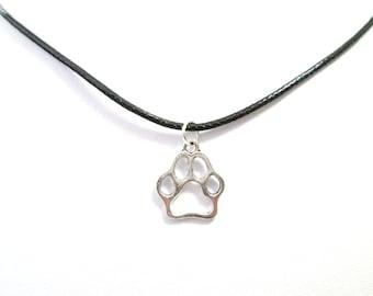 Silver paw print black choker charm pendant, paw print necklace, choker charm necklace, animal paw, cat paw, dog paw,