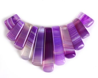 g3389 15mm to 40mm Purple banded agate 11pcs sticks graduated loose beads pendant beads set