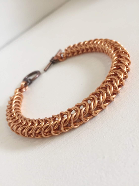 copper bracelet mens box chain bracelet chainmaille jewelry. Black Bedroom Furniture Sets. Home Design Ideas