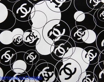"""100% Authentic Chanel Black and White Double Interlocking CC Logo w/ Circles Bubbles Gift Wrapping Paper 36"""" x 18"""" Rare DIY ART"""