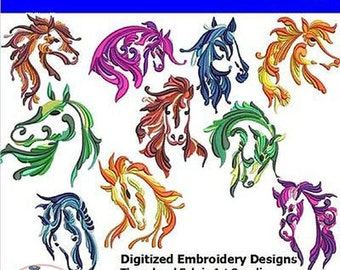 Embroidery Design CD - Horses(2) - 10 Designs - 9 Formats - Threadart