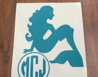 Mermaid Monogram Decal for Yeti, Ozark Trail, Rtic, Notebook