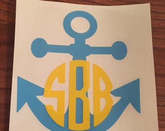 Anchor Monogram Decal for Yeti, Ozark Trail, Rtic, Notebook
