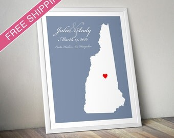 Personalized New Hampshire Wedding Gift : Custom Location and Map Print - Housewarming Gift - Wedding Guest Book Poster