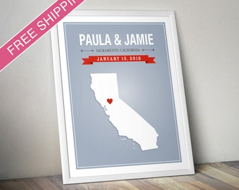 Personalized California Wedding Gift - Custom California State Map Art Print, Wedding Guest Book, Engagement Gift, Mid Century Modern