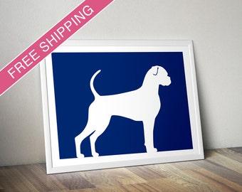 Boxer Print (Natural version 2) -  Boxer Silhouette - boxer dog art, dog portrait, modern dog home decor