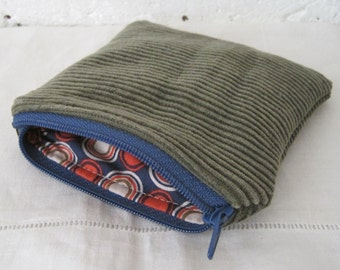 Handmade Recycled Olive Corduroy Pouch