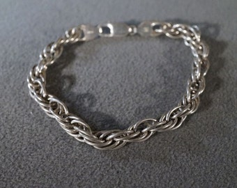 Vintage Sterling Silver Italian Made Multi Woven Rolled Link Chain Bracelet         **RL