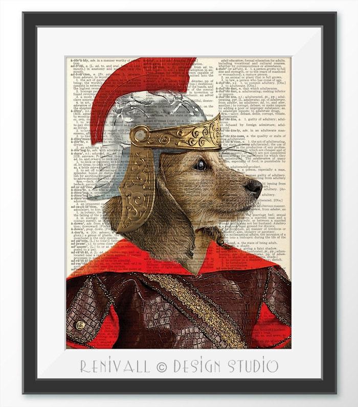 Gladiator Dog Dachshund Dog Dictionary Art Print Dictionary