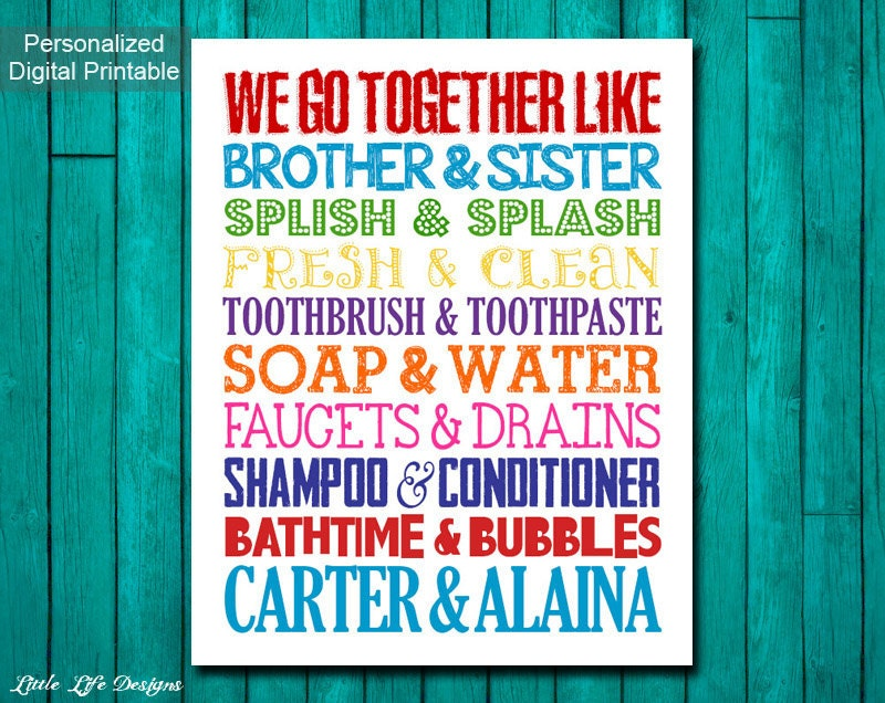 Kids Bathroom Wall Art brother & sister bathroom wall art. sibling wall art. kids