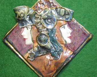 Gorgeous Hand Crafted Two Faced Porcelain Brooch Pin - Free Shipping
