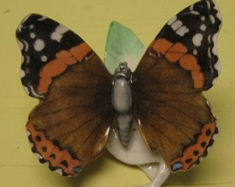 Vintage German Hutschenreuther Butterfly Figurine Red Admiral - Free Shipping