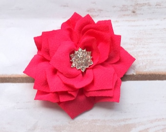 Hot pink satin flower hair clip, girls hair clip, summer hair clip, flower hair accessory, hot pink summer flowers, UK seller