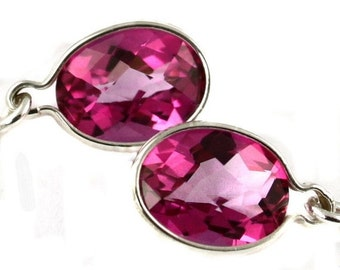 Valentines Sale 30% Off, SE005, 8x6mm Pure Pink Topaz, 925 Sterling Silver Threader Earrings