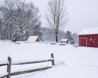 Winter Fence and Red Barn, Winter Photography, Winter Art, Winter Print, Winter Decor, Red Barn, Barn, Barn Photography, Barn Art,Barn Print
