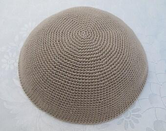 Beige Kippah. Handmade Crochet Kippah. Hand knitted Yarmulke. Beige Cotton Yarn. Plain Beige Kippah. Shabbat Kippah. Beige Yarmulke.