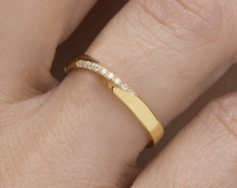 Largeur 2,6 mm de l'Anneau Mobius bague diamant mobius mobius pavé bague Alliance diamants noirs Rose mobius Bague diamants or mobius