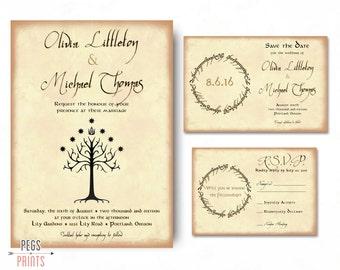 Geek Wedding Invitation Set - Lord of the Rings Wedding Invitation Set - Save the Date, Invitation, RSVP - Tree of Gondor Invite PRINTABLE